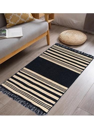 Giz Home Lara Pamuklu Kilim Lr02 Siyah Sarı Renkli